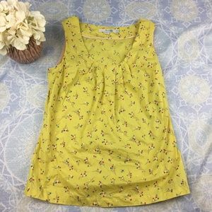 Boden Cotton Sleeveless Blouse Tank Yellow Floral